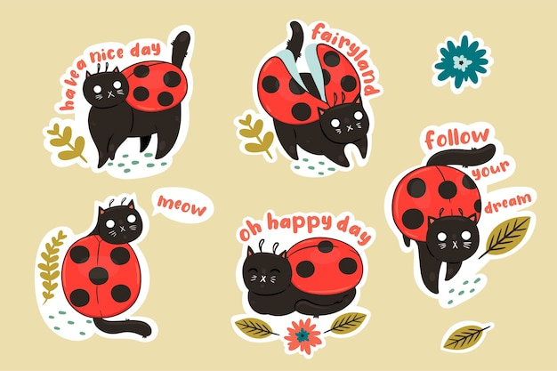 Stickers with cat ladybirds and inscriptions