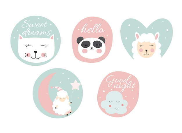 Stickers with cute animals.  illustration