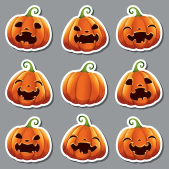 Stickers with cute realistic pumpkins with different faces for halloween. vector illustration. isolated.