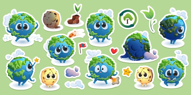 Stickers with earth and moon cartoon characters
