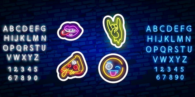 Stickers with neon effect and neon alphabet font typography