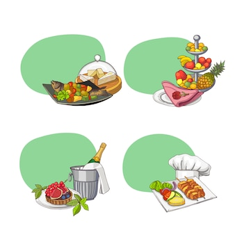 Stickers with place for text and hand drawn restaurant or room service