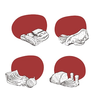 Stickers with place for text with hand drawn monochrome meat elements