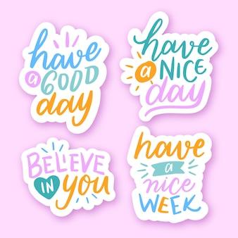 글자가있는 긍정적 인 문구가있는 스티커