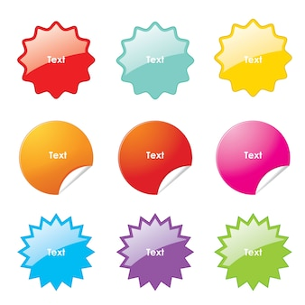 Stickers with rounded corners shapes vector