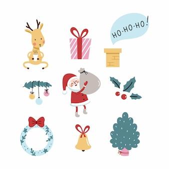 サンタクロースとおもしろい鹿の新年のステッカー。冬のポストカード作り。クリスマスリースとモミの木。枝にお祝いのボール。テキスタイルやお土産に印刷するためのベクトルイラスト。