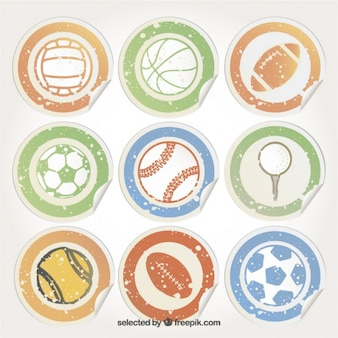 スポーツのボールとステッカー 無料ベクター