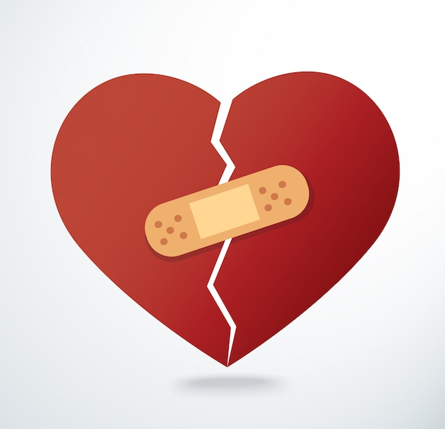 Sticking plaster on broken heart icon vector