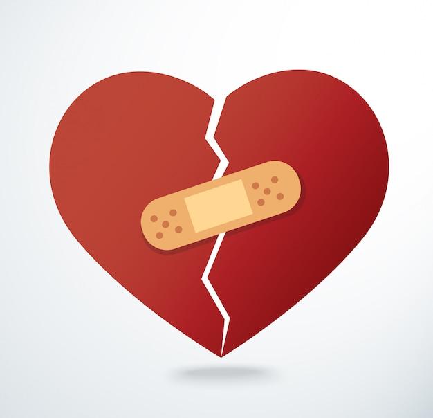 Наклеивание штукатурки на разбитое сердце значок вектора