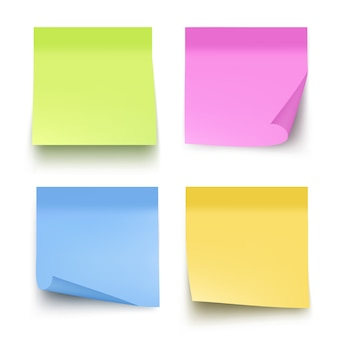 Sticky colored notes. post note paper vector realistic pictures isolated