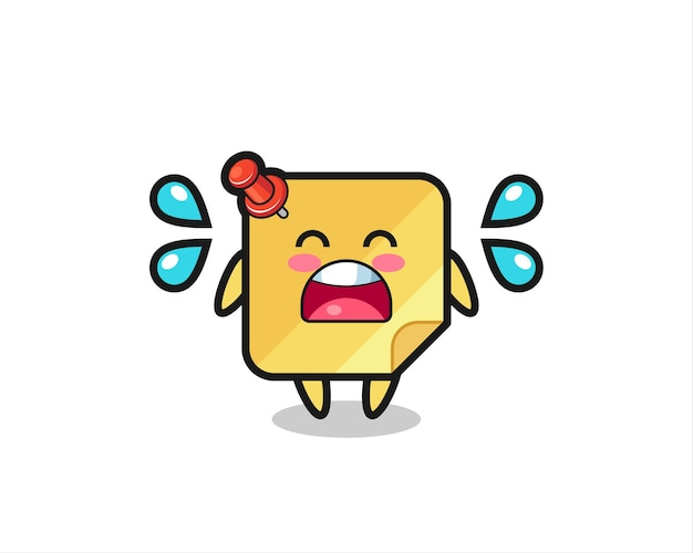 Sticky note cartoon illustration with crying gesture , cute style design for t shirt, sticker, logo element