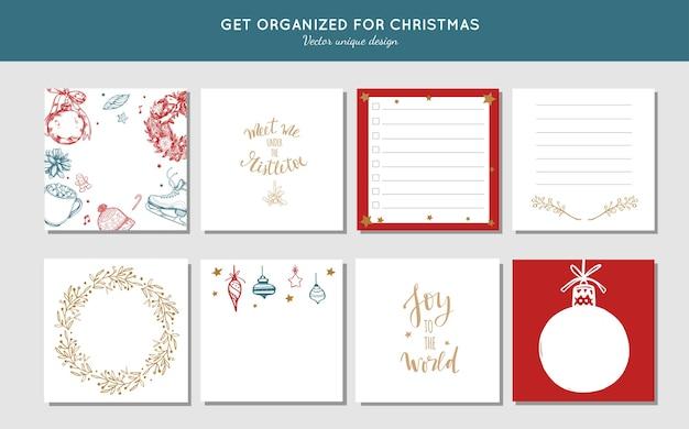 크리스마스와 새해 준비를위한 스티커 메모 수집. 크리스마스를 위해 조직하십시오.