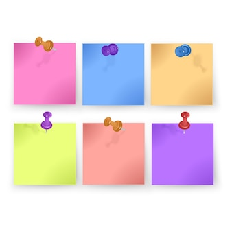 Sticky note collection with curled corners and shadows