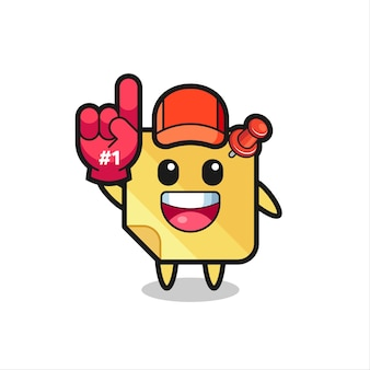 Sticky note illustration cartoon with number 1 fans glove , cute style design for t shirt, sticker, logo element
