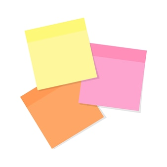 Sticky note paper in various colors isolated on white