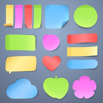 Sticky note papers, memo stickers  collection.