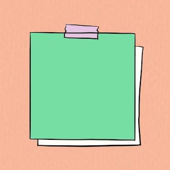 Vettore di nota adesiva su sfondo arancione pastello