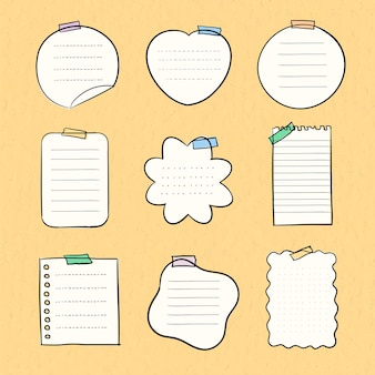 Sticky note vector pastel set in hand drawn style