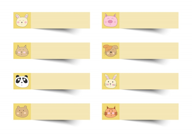 Sticky note yellow color with cute animals.