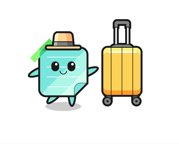 Sticky notes cartoon illustration with luggage on vacation , cute style design for t shirt, sticker, logo element