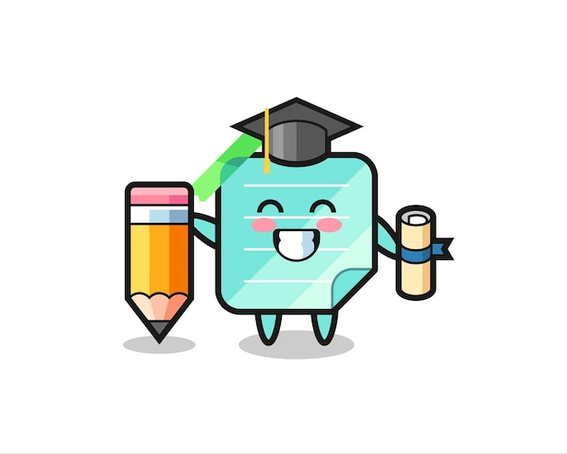 스티커 메모 그림 만화는 티셔츠, 스티커, 로고 요소를 위한 귀여운 스타일 디자인, 거대한 연필로 졸업하는 것입니다.