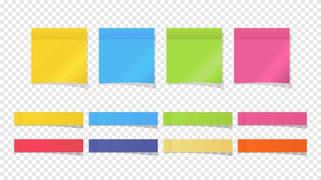 Иллюстрация липких заметок бумажной памятки разных цветов