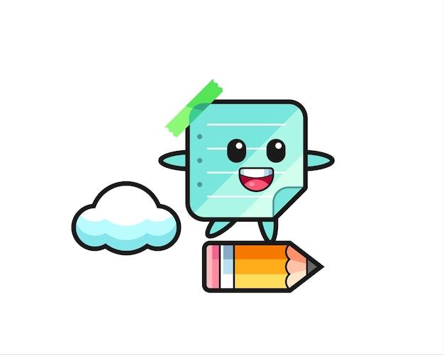 거대한 연필을 타고 있는 스티커 메모 마스코트 그림, 티셔츠, 스티커, 로고 요소를 위한 귀여운 스타일 디자인