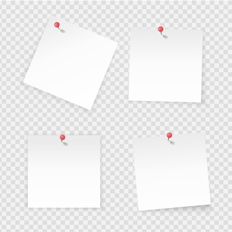 스티커 메모. 투명 한 배경에 고립 된 종이 스틱 노트. 빈 노트북 페이지는 빨간색 푸시버튼을 고정했습니다. 작업 보드를 위한 빈 공간이 있는 벡터 용지 레이블