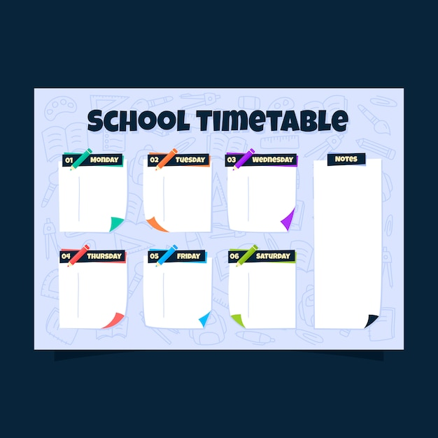 Sticky notes school timetable with doodle stationery background