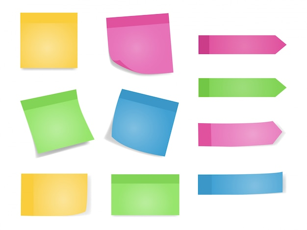 Sticky notes set of color sheets of note papers