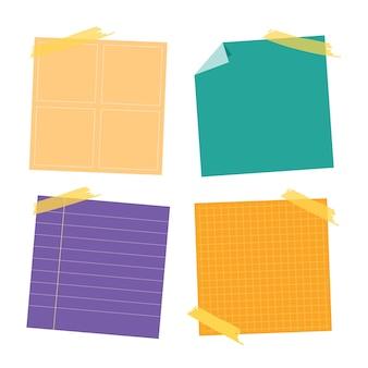 스티커 포스트 노트 컬렉션. 작업 메모, 게시 알림에 게시하십시오. 사무실 종이 스티커 컬렉션.