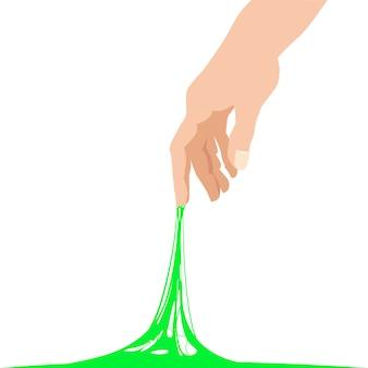 粘着性のスライムに到達する手、緑のバナーテンプレートが立ち往生しています。人気の子供の感覚的なおもちゃ