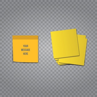 Sticky sticker vector office memo on transparent background