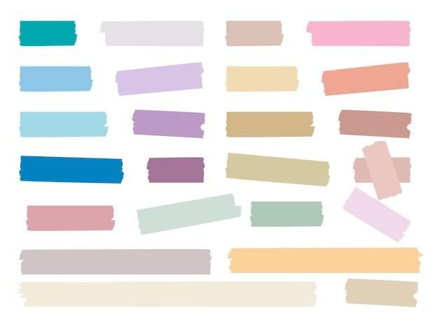 끈적 끈적한 스트립. 컬러 장식 테이프 미니 와시 스티커 장식 세트.