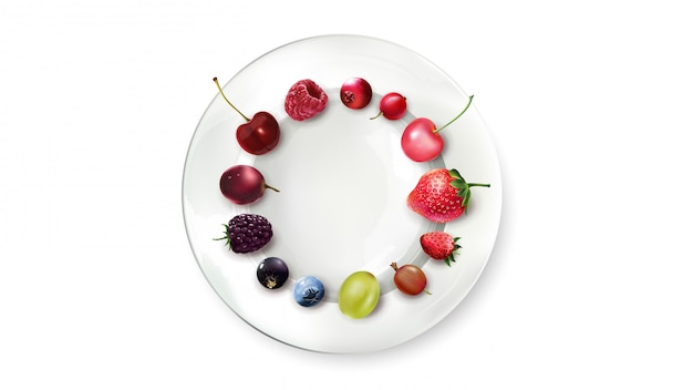 Still life of berries arranged in a circle on a white plate.