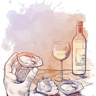 Натюрморт с рукой, держащей устрицу, бутылку белого вина и пару устриц, лежащих на столе. бланк для меню ресторана.