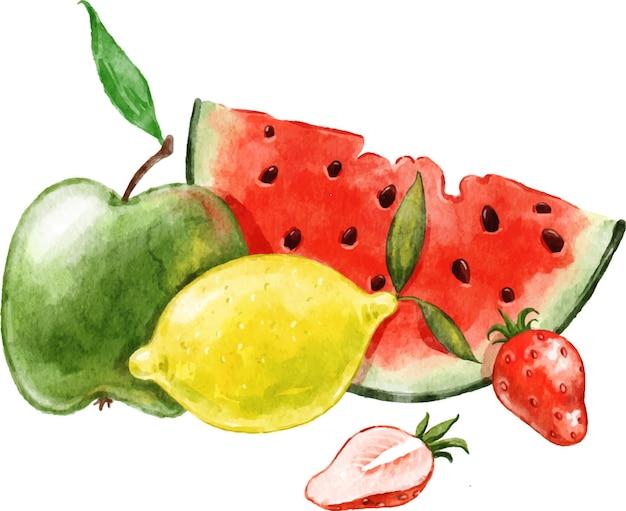 水彩で描かれた夏の果物スイカレモンアップルストロベリーの静物