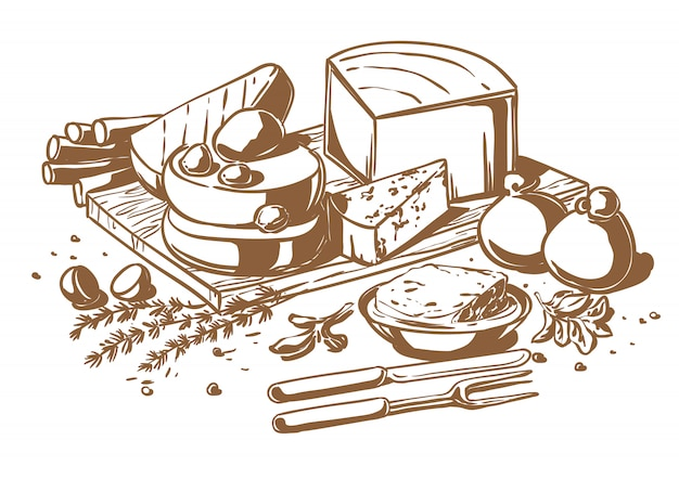 Still life of a set of cheeses