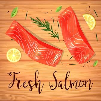 Плоский вид сверху натюрморта с красной рыбой с лимоном и розмарином.