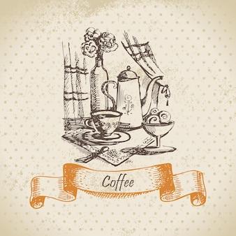 커피와 함께 아직도 인생입니다. 빈티지 손으로 그린 그림