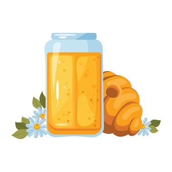 Натюрморт с концепцией меда. соты, стекло меда, цветок ромашки - изолированные на белом фоне. фондовый иллюстрация пчелиного дома с круглым входом