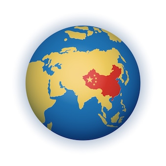 Stilyzed, simplified globe in blue and yellow colours with the territory of the peoples republic of china highlighted in red
