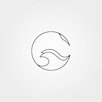 Скат круг логотип вектор линии искусства минималистский дизайн иллюстрации