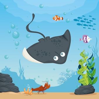 Stingray and marine animals in ocean, seaworld dwellers, cute underwater creatures, undersea fauna