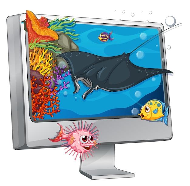 コンピューターの画面上で泳ぐアカエイ