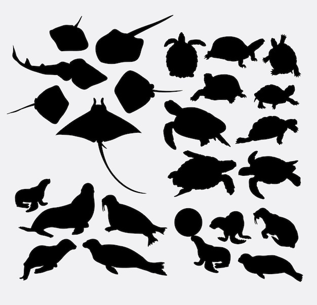 Stingray turtle and walrus sealife animal silhouette