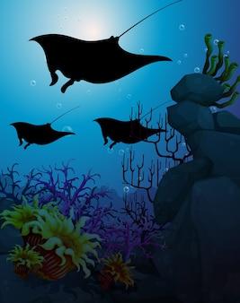 Stingray nella scena subacquea