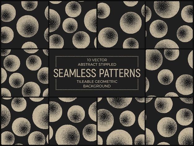 Stippled abstract seamless patterns set