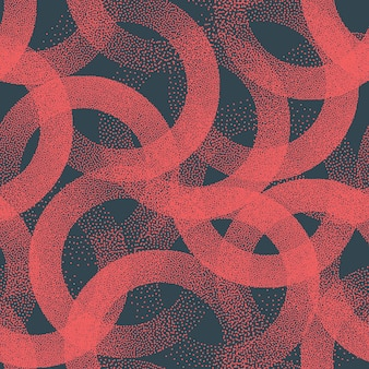 Stippled circles texture trendy seamless pattern retro red abstract background