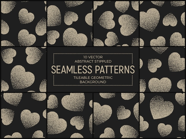 Stippled hearts abstract seamless patterns set
